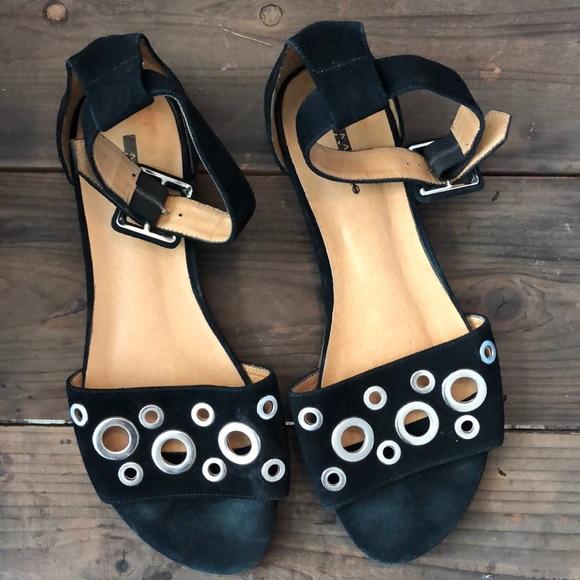 5d7fd97d1479 Black leather Matiko Sandals